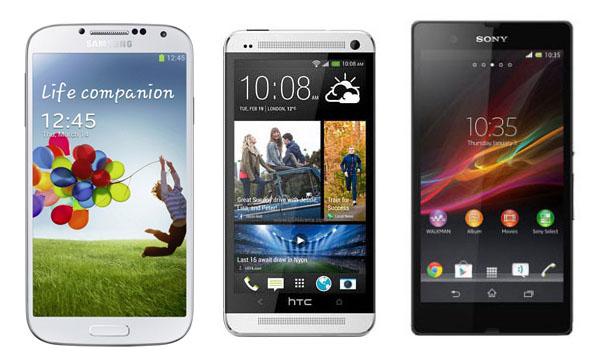 galaxy s4 vs xperia z vs htc one 2 مقارنة بين عمالقة الأندرويد : جالكسي اس 4 و سوني اكسبيريا Z و HTC One
