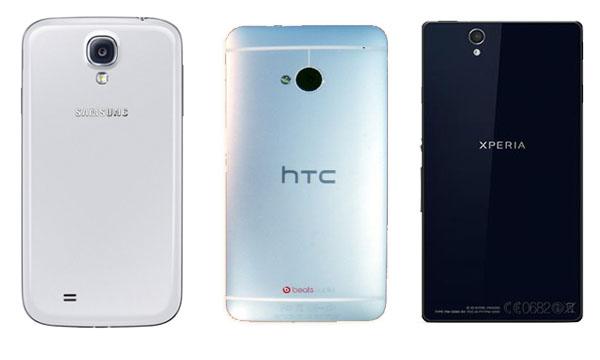 galaxy s4 vs xperia z vs htc one 3 مقارنة بين عمالقة الأندرويد : جالكسي اس 4 و سوني اكسبيريا Z و HTC One