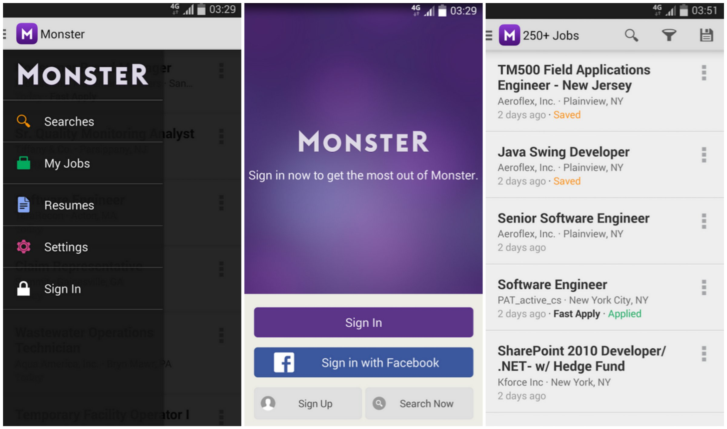Monster - أفضل تطبيقات البحث عن الوظائف وكتابة السيرة الذاتية للأندرويد والآيفون